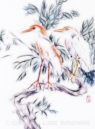 Cattle Egrets, Chinese Brush painting, illustrated in Photoshop.