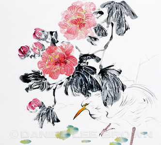 Egret and Peony.   Watermark will not appear on any prints of merchandise.